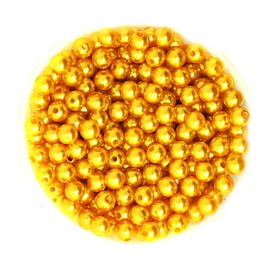 beadia 100g (noin 1000pcs) abs Pearl helmiä 6mm pyöreä kullan keltainen väri muovi löysä helmiä DIY koruja tehdä