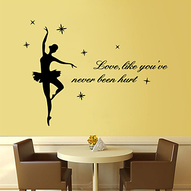 People Music Words & Quotes Cartoon Wall Stickers Words & Quotes Wall Stickers Decorative Wall Stickers, Vinyl Home Decoration Wall Decal