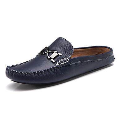-Для мужчин-Повседневный-Кожа-На плоской подошве-Удобная обувь-Башмаки и босоножки
