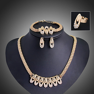Damen Schmuck-Set Armband / Ohrringe / Halsketten - Retro / Party / Büro Gold Schmuckset Für Party