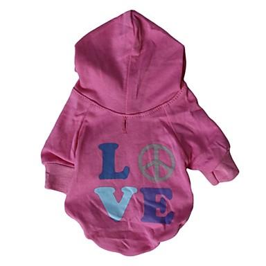 Chat Chien Pulls à capuche Vêtements pour Chien Lettre et chiffre Rose Coton Costume Pour les animaux domestiques Homme Femme Décontracté