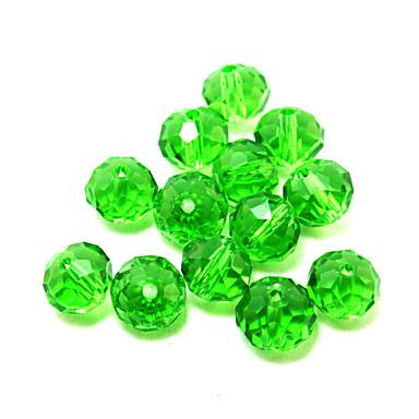 beadia 80pcs γυαλί πολυεδρικών κρυστάλλινες χάντρες 8x10mm επίπεδο στρογγυλό σχήμα πράσινο χρώμα DIY αποστάτη χαλαρά χάντρες