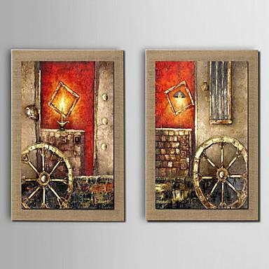 El-Boyalı Manzara Yatay, Klasik Hang-Boyalı Yağlıboya Resim Ev dekorasyonu Çift Panelli