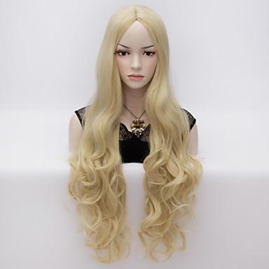Synteettiset peruukit Runsaat laineet Tiheys Suojuksettomat Naisten Carnival Peruukki Halloween Peruukki Hyvin pitkä Synteettiset hiukset