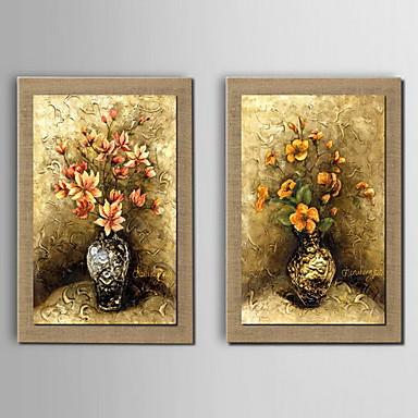 χέρι ελαιογραφία με τη διακόσμηση λουλουδιών ζωγραφισμένα φυσικό λινό με τεντωμένα πλαισιώνεται - σύνολο 2