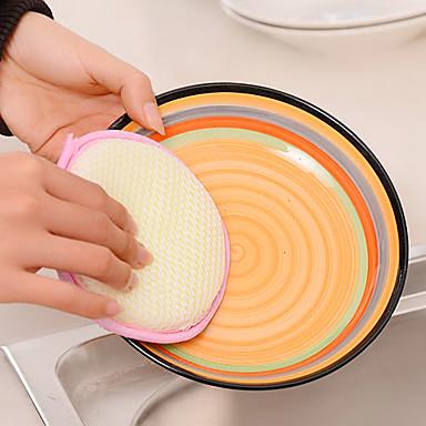 kerek kétoldalas serpenyőben súroló szivacs pot mosogatógép ruhával pad (véletlenszerű szín)