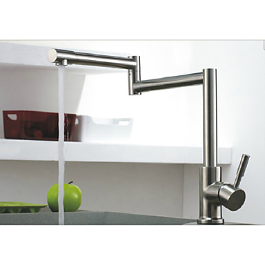 Rotatable Brushed Nickel Kitchen Faucet Folding Single Handle Mixer Tap