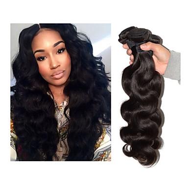 billiga Hårförlängningar av äkta hår-3 paket Brasilianskt hår Kroppsvågor Klassisk 10A Obehandlad hår Human Hår vävar Hårförlängning av äkta hår Människohår förlängningar