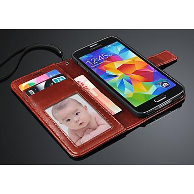 Mert Samsung Galaxy tok Kártyatartó / Pénztárca / Állvánnyal / Flip Case Teljes védelem Case Egyszínű Műbőr Samsung S5