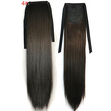 Gerade Synthetik Haarstück Haar-Verlängerung 18 Zoll Mittelbraun