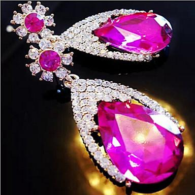 Κρεμαστά Σκουλαρίκια Πετράδι Στρας Κράμα Μοντέρνα Κρεμαστό Κόκκινο Μπλε Ροζ Κοσμήματα 2pcs