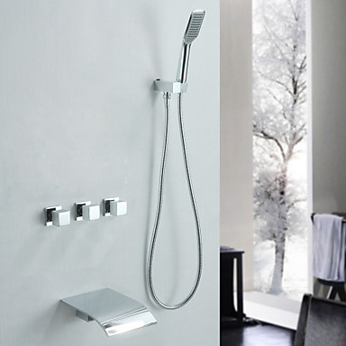 Смеситель для душа Смеситель для ванны - Современный Хром Ванна и душ Керамический клапан
