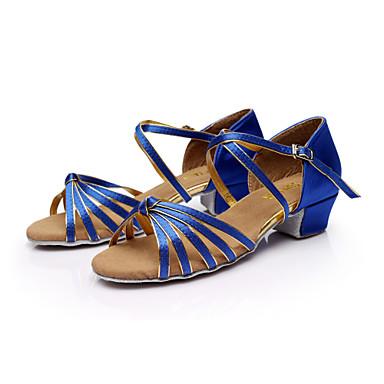 baratos Sapatos de Samba-Mulheres Cetim / Courino Sapatos de Dança Latina / Dança de Salão / Sapatos de Salsa Presilha Sandália Salto Baixo Não Personalizável Marrom / Dourado / Azul Real / EU40