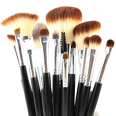 15 Makeup Brush Set Synthetic Hair Travel Eco-friendly Professional Full Coverage Synthetic Limits bacteria Hypoallergenic Eye Lip Face