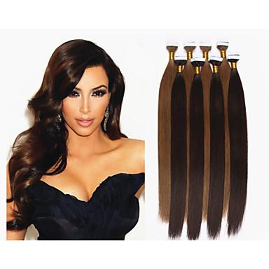 Tape In Human Hair Extensions Straight Human Hair Dark Auburn Blonde