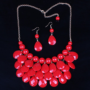 Women's Cute Jewelry Set Earrings / Necklace - Vintage / Party / Casual Yellow / Red / Light Green Jewelry Set For Party / Special