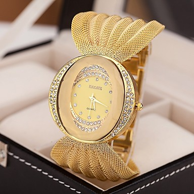 cheap Women's Watches-Women's Luxury Watches Bracelet Watch Diamond Watch Quartz Silver / Brown / Gold Imitation Diamond Analog Ladies Sparkle Fashion Dress Watch - Silver Golden