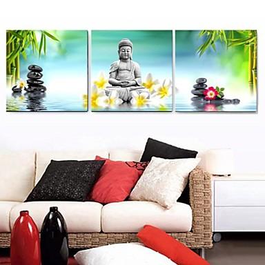 εκτυπώσεις αφίσα φύση εικόνες πράσινο τοίχο ζωγραφική θρησκεία του Βούδα εκτύπωση σε καμβά 3pcs / set (χωρίς πλαίσιο)