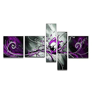 Hand-Painted Art Wall Decor Large Abstract Purple SplashOil Painting on Canvas  5pcs/set (Without Frame)
