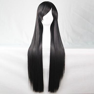 νέα anime cosplay μακριά μαύρα ίσια μαλλιά περούκα 80 εκατοστά