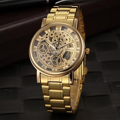 abordables Relojes Automáticos-Hombre Reloj Esqueleto Reloj de Pulsera Cuarzo Acero Inoxidable Dorado Huecograbado Analógico Encanto - Dorado