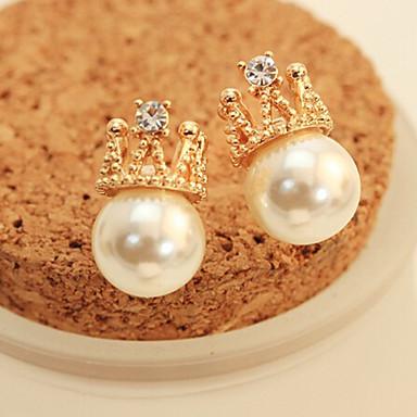 Kolczyki na sztyft Perłowy Kryształ górski Stop Crown Shape Gold Biżuteria Na 2pcs