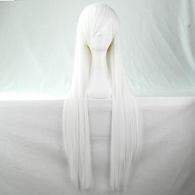 Synthetische Perücken / Perücken Glatt Mit Pony Synthetische Haare Seitenteil Weiß Perücke Damen Lang Kappenlos Weiß