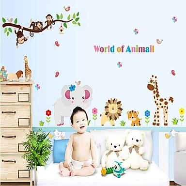 Dekoratif Duvar Çıkartmaları - Hayvan Duvar Çıkartmaları Manzara Hayvanlar Oturma Odası Yatakodası Çalışma Odası / Ofis Erkekler odası