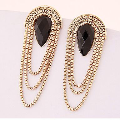 Damen Quaste Tropfen-Ohrringe - vergoldet Tropfen Erklärung Farbbildschirm Für