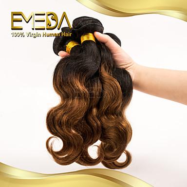 Düz Brezilya Saçı Vücut Dalgası İnsan saç örgüleri 3 Parça 0.3