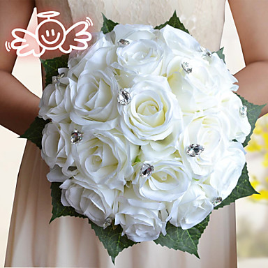 Wedding Flowers Bouquets Wedding Polyester Satin Foam 9.84