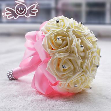 Düğün Çiçekleri Yuvarlak Güller Buketler Düğün Polyester Saten Köpük 7.87