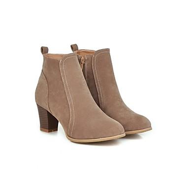 Mulheres Sapatos Flanelado Outono Inverno inicialização Chelsea Salto Robusto 5,08 a 10,16 cm Botas Curtas / Ankle Ziper para Casual