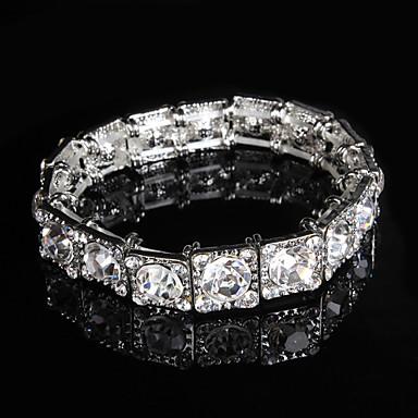 נשים צמידי טניס סגסוגת זירקוניה מעוקבת אבן נוצצת אופנתי Round Shape כסף תכשיטים 1pc