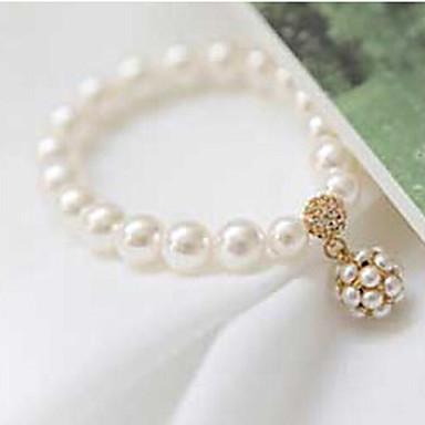 abordables Bracelet-Bracelet à Perles Femme Perle Zirconium Boule Personnalisé Soirée Basique Perlé Rigide Elégant Bracelet Bijoux Blanc pour Mariage Soirée Quotidien