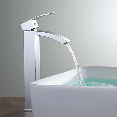 Nykyaikainen Pesuallas Keraaminen venttiili Yksi reikä Yksi kahva yksi reikä Kromi , Kylpyhuone Sink hana