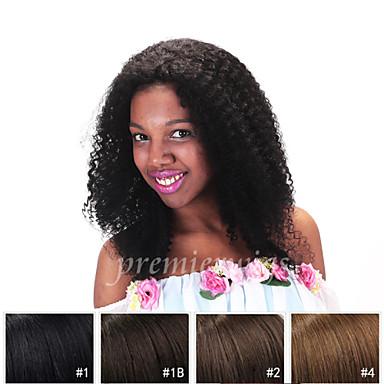 billige Blondeparykker med menneskehår-Ekte hår Helblonde Parykk Kinky Curly 120% tetthet 100 % håndknyttet Afroamerikansk parykk Naturlig hårlinje Kort Medium Lang Dame
