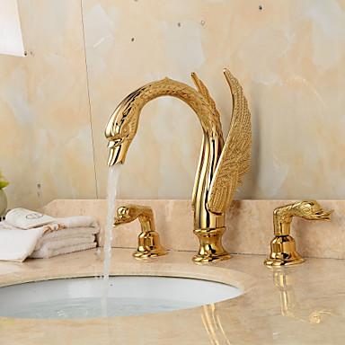 Μπάνιο βρύση νεροχύτη - Εκτεταμένο Ti-PVD Αναμεικτικές με ενιαίες βαλβίδες Τρεις Οπές Δύο λαβές τρεις οπές