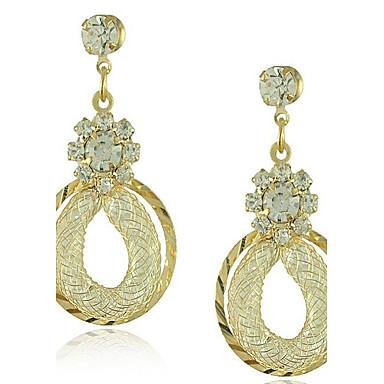 Damen Tropfen-Ohrringe Luxus Doppelschicht Europäisch Kubikzirkonia vergoldet Diamantimitate Aleación Tropfen Schmuck Modeschmuck