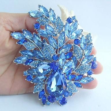 γάμος 4,33 ιντσών ασήμι-Ήχος μπλε τεχνητό διαμάντι κρύσταλλο καρφίτσα λουλούδι καρφίτσα art deco μπουκέτο