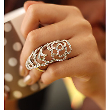 Woman Gold/silver Tone  Fashion Flower Cutout Crystal Ring CR020