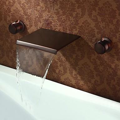 Antique Montage mural Jet pluie Soupape en laiton 3 trous Deux poignées trois trous Bronze huilé, Robinet lavabo