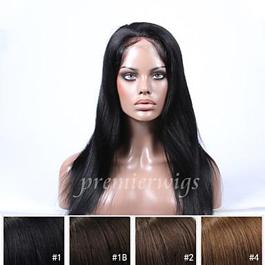 Ekte hår Helblonde Parykk Rett 130% tetthet Naturlig hårlinje / Afroamerikansk parykk / 100 % håndknyttet Dame Kort / Medium / Lang Blondeparykker med menneskehår