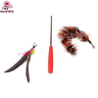 Cat Toy Dog Toy Pet Toys Teaser Feather Toy Stick Plastic For Pets