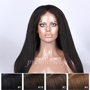 Echthaar Spitzenfront Perücke Glatt Perücke 130% Haardichte Natürlicher Haaransatz Afro-amerikanische Perücke 100 % von Hand geknüpft Damen Kurz Mittlerer Länge Lang Echthaar Perücken mit Spitze