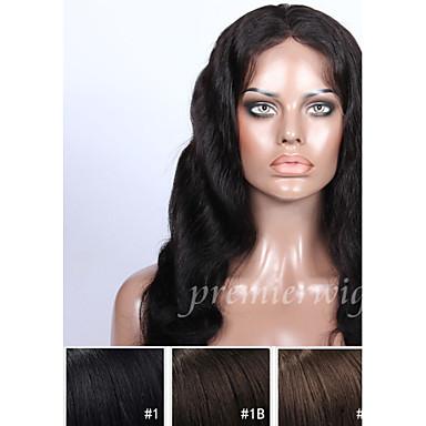 Echthaar Vollspitze Perücke Große Wellen Perücke 130% Natürlicher Haaransatz / Afro-amerikanische Perücke / 100 % von Hand geknüpft Damen Kurz / Medium / Lang Echthaar Perücken mit Spitze