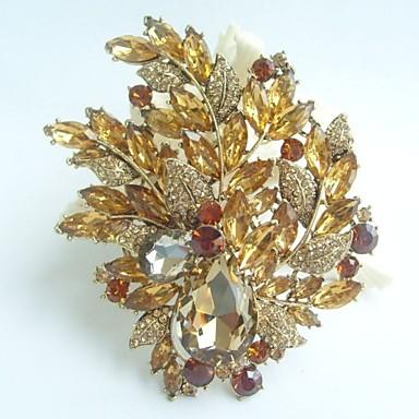 πανέμορφο 4.33 ιντσών μπουκέτο deco καρφίτσα χρυσό-Ήχος τοπάζι rhinestone κρύσταλλο λουλούδι καρφίτσα τέχνης