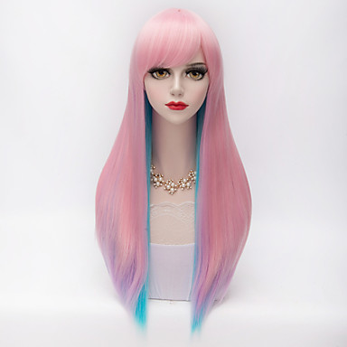 Harajuku Fashion Two Tone Long Straight Full Bang Hair Blue&Pink Gradient Synthetic Lolita Party Women Wig
