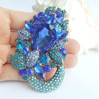2.95 ιντσών διακοσμήσεις χρυσό-Ήχος μπλε τεχνητό διαμάντι κρύσταλλο λουλούδι κρεμαστό κόσμημα καρφίτσα τέχνης