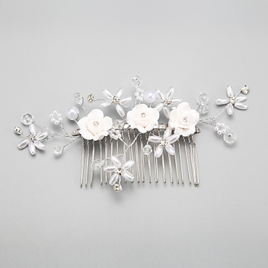 Imitation Pearl Alloy Hair Combs Headwear with Floral 1pc Wedding Special Occasion Headpiece